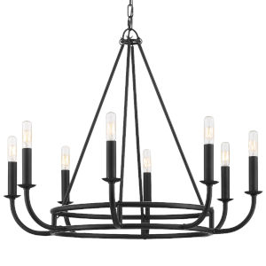 Bailey Matte Black 28-Inch Eight-Light Chandelier