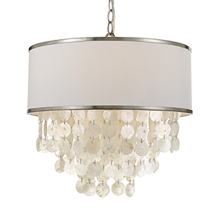 Brielle Antique Silver Three-Light Chandelier