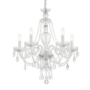Candace Polished Chrome 28-Inch Five-Light Swarovski Strass Crystal Chandelier