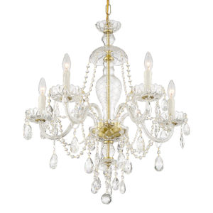 Candace Polished Brass 25-Inch Five-Light Swarovski Spectra Crystal Chandelier