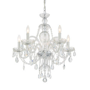 Candace Polished Chrome 25-Inch Five-Light Swarovski Strass Crystal Chandelier