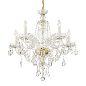 Candace Polished Brass 25-Inch Five-Light Hand Cut Crystal Chandelier