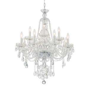 Candace Polished Chrome 28-Inch 12-Light Hand Cut Crystal Chandelier