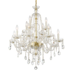 Candace Polished Brass 28-Inch 12-Light Hand Cut Crystal Chandelier