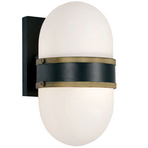 Capsule Matte Black and Textured Gold One-Light Outdoor Wall Mount