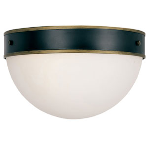 Capsule Matte Black and Textured Gold Two-Light Outdoor Ceiling Mount