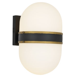 Capsule Two-Light Matte Black and Textured Gold Outdoor Wall Mount