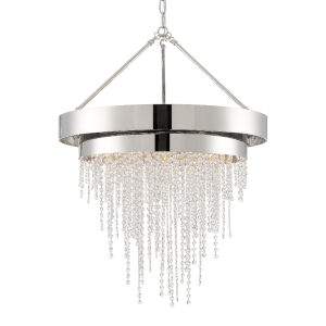 Clarksen Polished Nickel 26-Inch Six-Light Hand Cut Crystal Chandelier