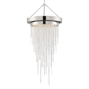 Clarksen Polished Nickel 60-Inch Six-Light Hand Cut Crystal Chandelier