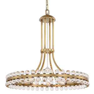 Clover Eight-Light Aged Brass Chandelier