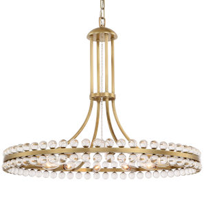 Clover Twelve-Light Aged Brass Chandelier