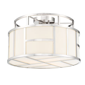 Danielson Polished Nickel Three-Light Flush Mount with Clear Glass Crystal Beads