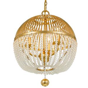 Duval Antique Gold Three-Light Chandelier