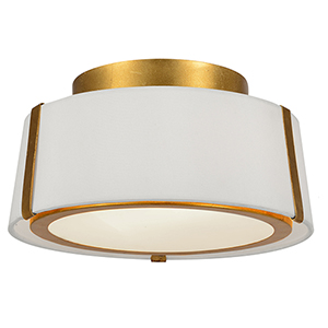 Fulton Antique Gold Two-Light Flush Mount