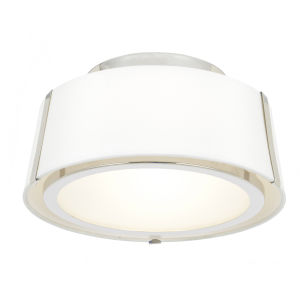 Fulton Polished Nickel Two-Light Flush Mount with Silk Shade
