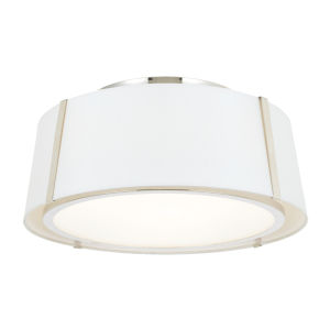 Fulton Polished Nickel Three-Light Flush Mount with Silk Shade