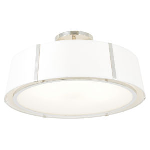 Fulton Polished Nickel Six-Light Semi-Flush with Silk Shade