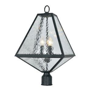Glacier Three-Light Black Charcoal Outdoor Lantern Post