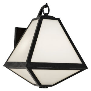 Glacier Black Charcoal Two-Light Wall Sconces with White Opal Glass Panel Shade