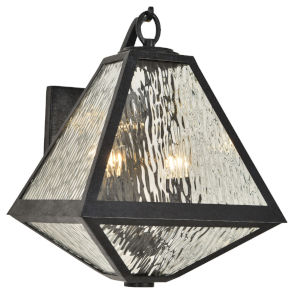 Glacier Black Charcoal Two-Light Wall Sconces with Water Glass Panels Shade