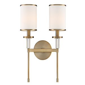 Hatfield Aged Brass Two-Light Wall Sconce