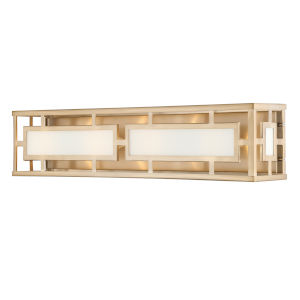 Hillcrest Vibrant Gold Four-Light Bath Lighting with White Silk Glass Panels Shade