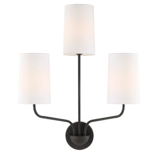 Leigh Three-Light Black Forged Wall Sconce
