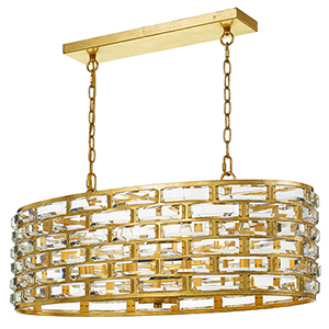 Meridian Antique Gold Eight-Light Chandelier