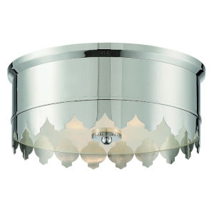 Nina Polished Nickel 14-Inch Three-Light Flush Mount
