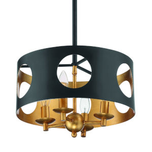 Odelle Matte Black and Antique Gold Four-Light Ceiling Pendant
