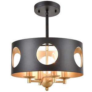 Odelle Matte Black and Antique Gold Four-Light Ceiling Pendant