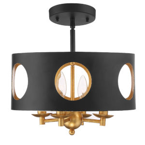 Odelle Matte Black and Antique Gold Four-Light Semi Flush Mount