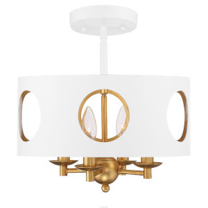Odelle Matte White and Antique Gold Four-Light Semi Flush Mount