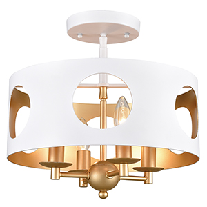 Odelle Matte White and Antique Gold Four-Light Semi Flush Mount