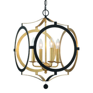 Odelle Matte Black and Antique Gold Four-Light Chandelier