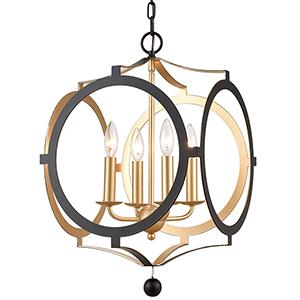 Odelle Matte Black and Antique Gold Four-Light Chandelier