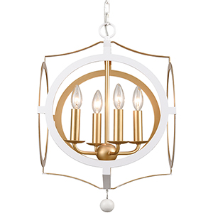 Odelle Matte White and Antique Gold Four-Light Chandelier