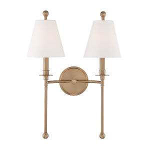 Riverdale Aged Brass 15-Inch Two-Light Wall Sconce