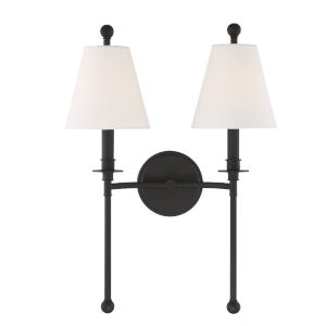 Riverdale Black Forged 15-Inch Two-Light Wall Sconce