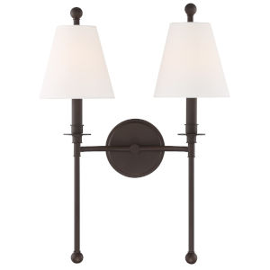 Riverdale Dark Bronze 15-Inch Two-Light Wall Sconce