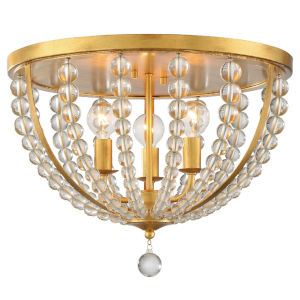 Roxy Antique Gold 17-Inch Three-Light Flush Mount
