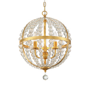 Roxy Antique Gold 14-Inch Three-Light Chandelier