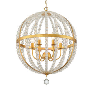 Roxy Antique Gold 22-Inch Six-Light Chandelier