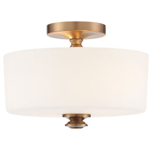 Travis Vibrant Gold 13-Inch Two-Light Semi Flushmount