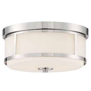 Trevor Polished Nickel 14-Inch Two-Light Flush Mount