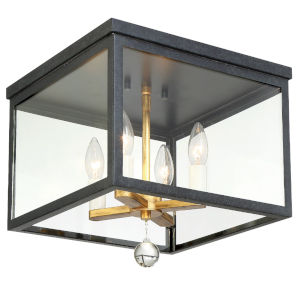 Weston Matte Black and Antique Gold Four-Light Flush Mount