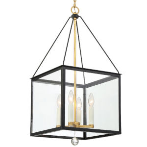 Weston Matte Black and Antique Gold 14-Inch Four-Light Pendant