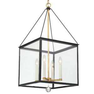 Weston Matte Black and Antique Gold Four-Light Pendant