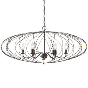 Zucca English Bronze and Antique Gold 38-Inch Six-Light Chandelier