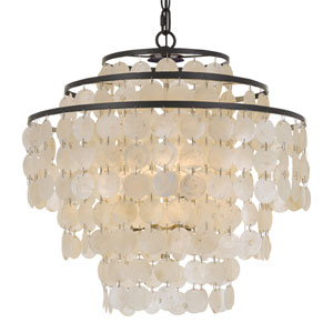 Capiz Shell 18-Inch Four-Light Bronze Chandelier